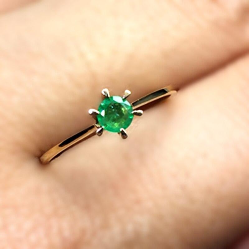 0,28 Karat Smaragd Ring 18 Karat Gelb Gold Engagement Ring Grün Edelstein Valentine Geschenk Für Freundin Student Versprechen Tiny