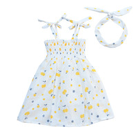 Hot 2019 New Summer Dress Toddler Kids Baby Girls Lovely Birthday Clothes Cherry Printed Party Gown Dresses Headband for Gifts
