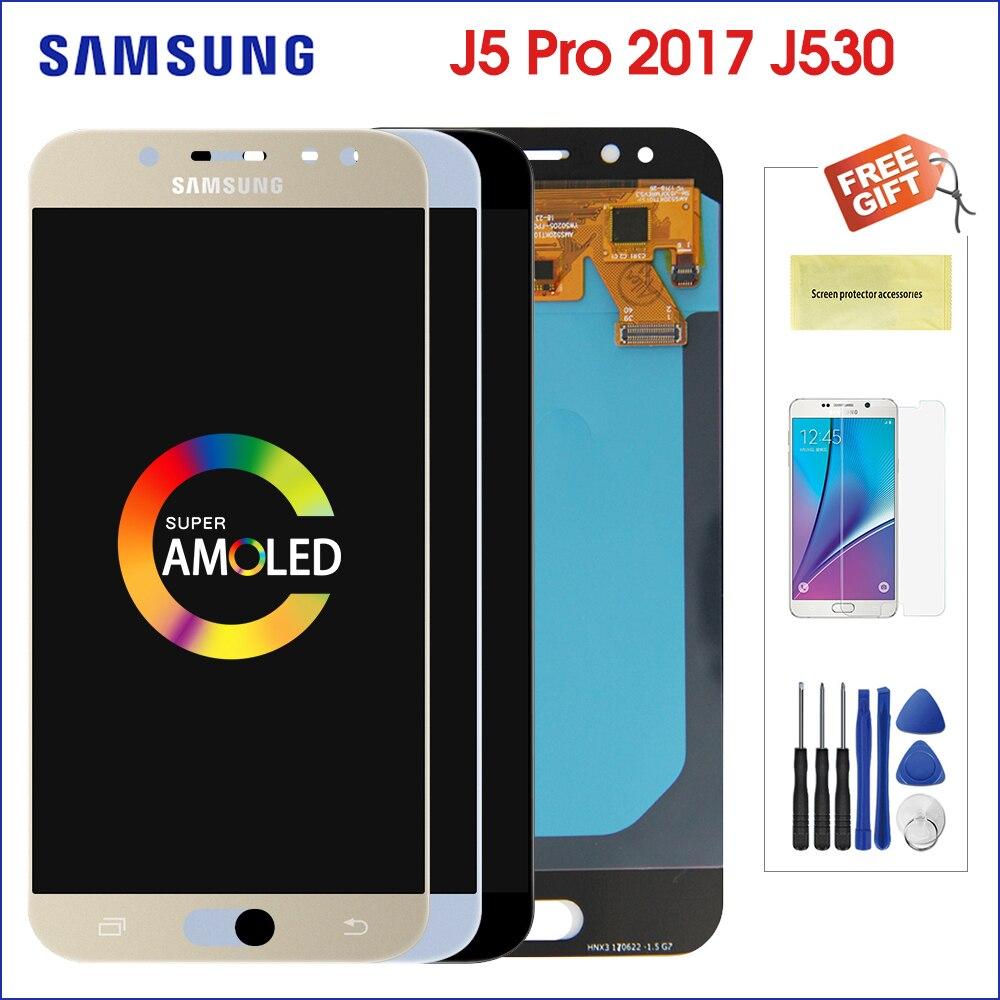 Super écran LCD AMOLED pour Samsung Galaxy j5 pro j530 j530F 2017 remplacement de l'écran tactile de contrôle de luminosité d'assemblage