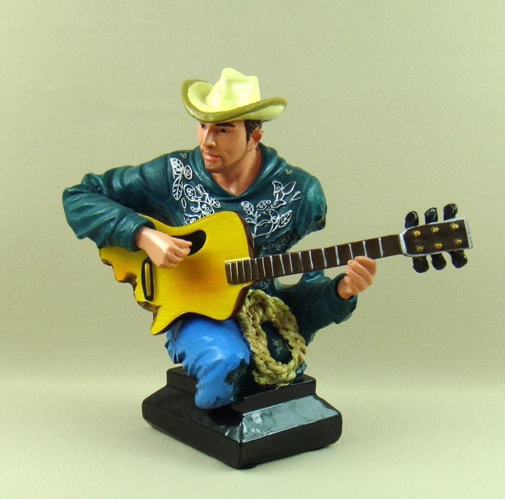 Campagne Cowboy guitariste buste abstraite polyrésine guitare joueur Figure Sculpture décor Art et artisanat ornement accessoires