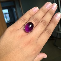 Solid Silver 925 Thin Band With Large Natural Purple Oval Stone Ring Women Real Sterling Silver 925 Jewelry Elegant Female Bijou