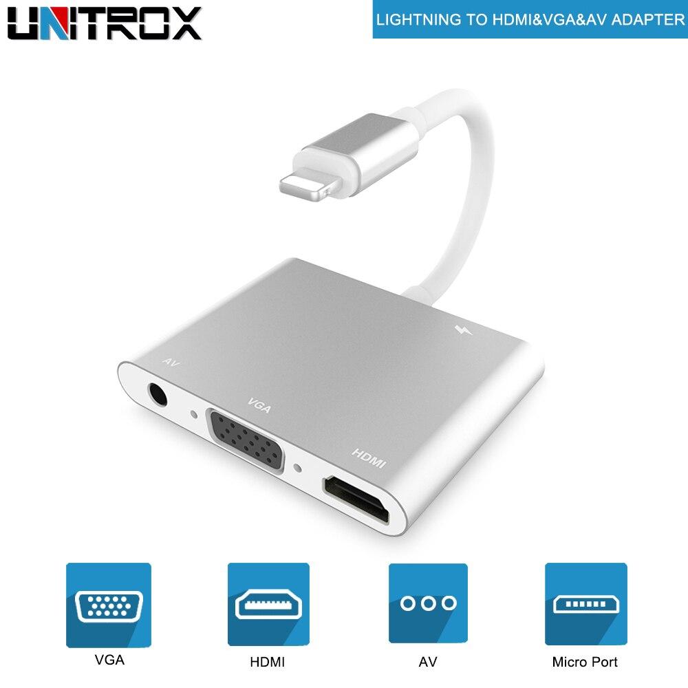 2018 Haute Qualité HDTV OTG Câble Pour La Foudre À HDMI VGA AV Audio Vidio Adaptateur Pour iPhone X/8 p/8/7 p/6 p Pour iPad Air/Mini/iPod