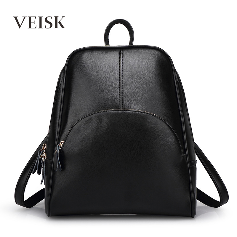 VEISK Fashion Backpacks Women PU Leather School Bag Girls Female Candy Colors Travel Shoulder Bags Waterproof Back Bags Mochila