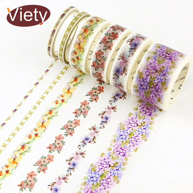 0.5-3cm*7m Fresh Flowers wreath washi tape DIY decorative scrapbooking planner masking tape adhesive tape kawaii stationery 3cm 7m raining butterfly washi tape diy decorative scrapbook planner masking tape office adhesive tape stationery