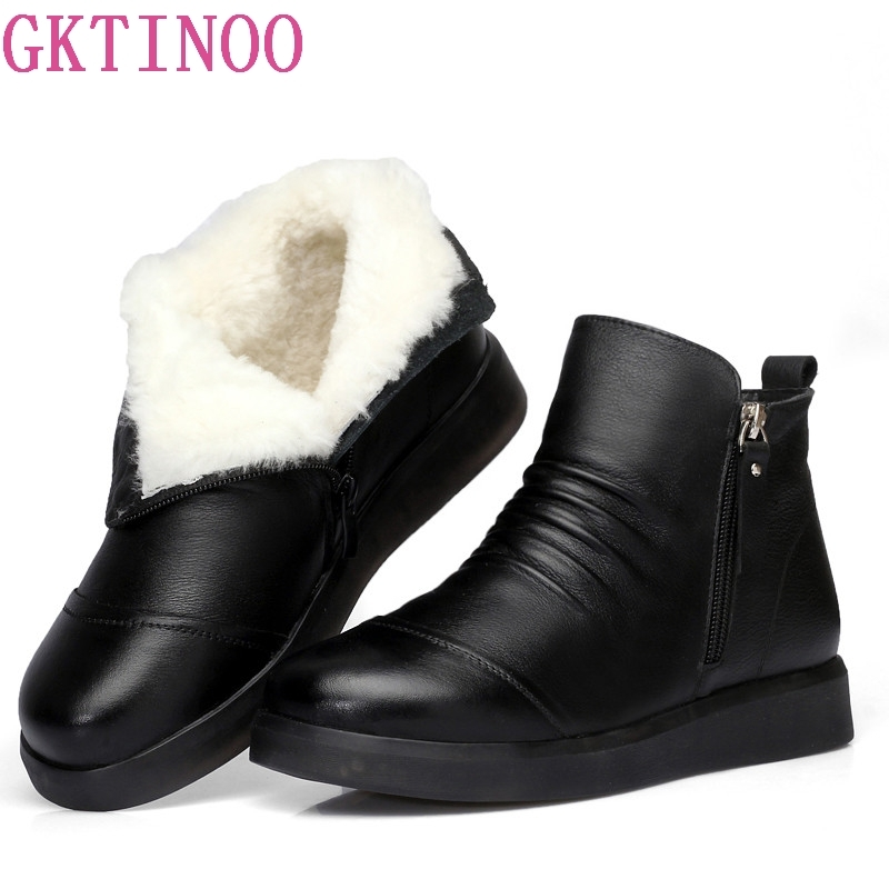 100% natural full genuine leather boots for women shoes wool warm snow boots 2018 fashion winter women boots non slip flat boots GKTINOO Boot Winter Shoes Woman Snow Boots 2018 New Winter Warm Wool Boots Flat Non-slip Cow Leather Shoes Women Boots