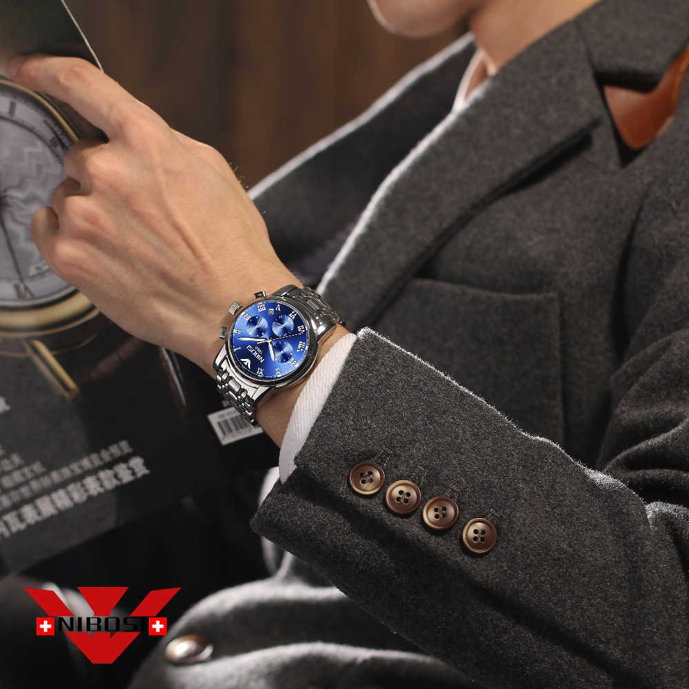 Reloje NIBOSI למעלה יוקרה מותג קוורץ שעון גברים מקרית קוורץ שעון נירוסטה Ultra דק שעון זכר 2019 Relogio Masculino