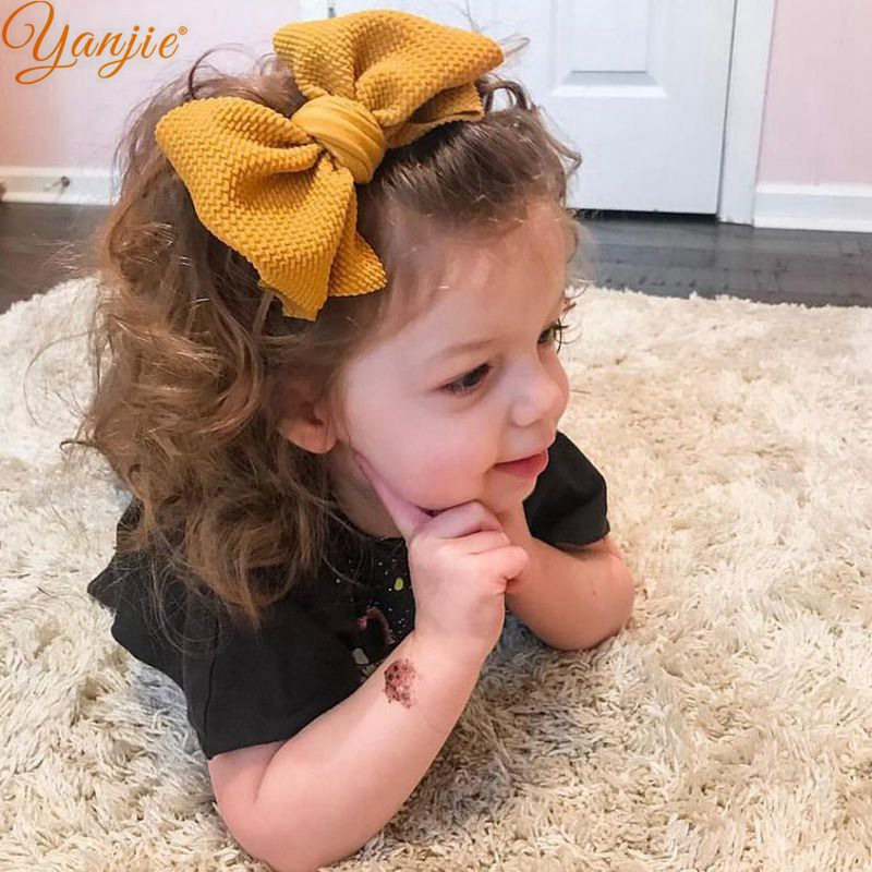 YANJIE 1pc 4.5'' Waffle Hair Bow Elastic Girls Soft Nylon Headband For Kids Hair Band