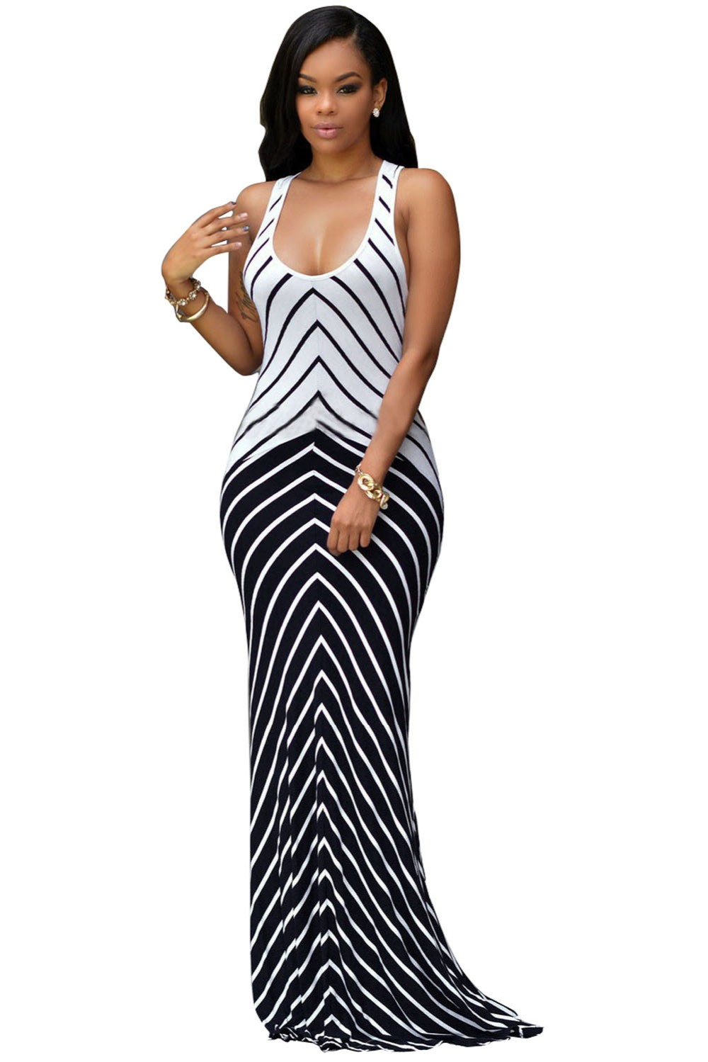 Online Get Cheap Navy White Stripe Maxi Dress -Aliexpress.com ...