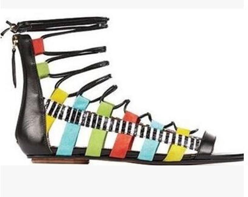 Новинка 2017 года; сандалии гладиаторы на плоской подошве; Mujer; женская летняя удобная женская обувь; обувь для свиданий со шнуровкой - 2