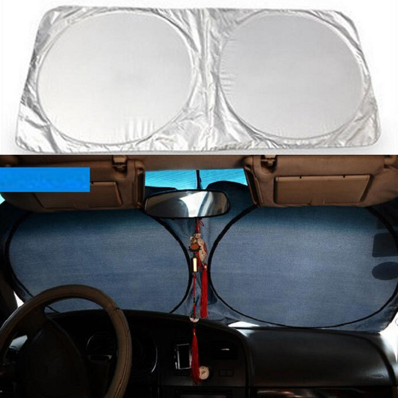 Rete Slivery Car Window Sunshade Curtain Film Visor Shield Cover Windshield UV Protection Interior Product Foldable Wh