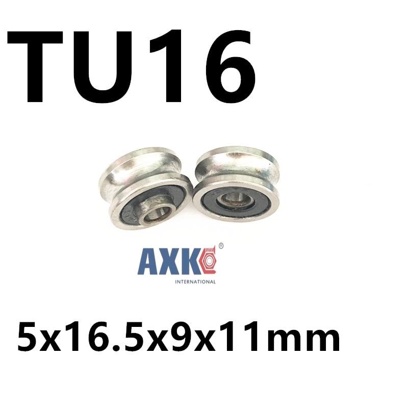 Free shipping  TU16 T16  U16 T16.5 ABEC5 6mm pulley bearings 5x16.5x9x11mm U groove roller wheel ball bearing T-U-16 high quality 6mm u groove steel roller bearings 0638uu 6 5 36 5 9 5 mm bearing 0638uu with houseing and screw