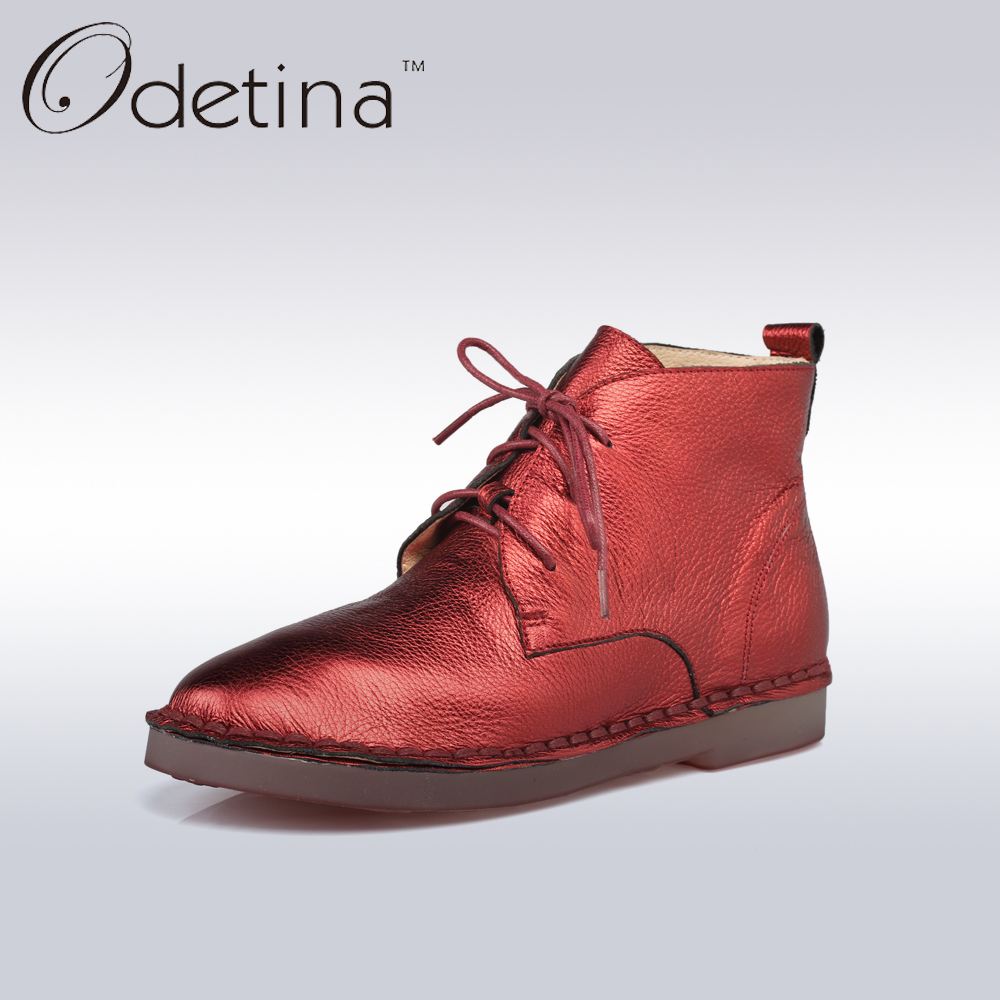 Odetina 2017 New Sewing Genuine Leather Lace Up Flats Spring Ladies Handmade Flat Casual Shoes for Women Soft Loafers Plus Size flat shoes women pu leather women s loafers 2016 spring summer new ladies shoes flats womens mocassin plus size jan6