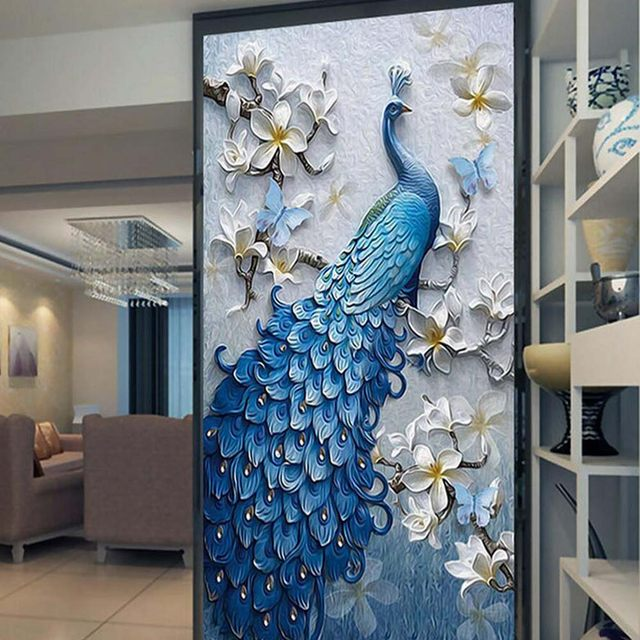 Online Shop 3D Embossed Peacock Bird Flower Hallway Photo Wallpaper