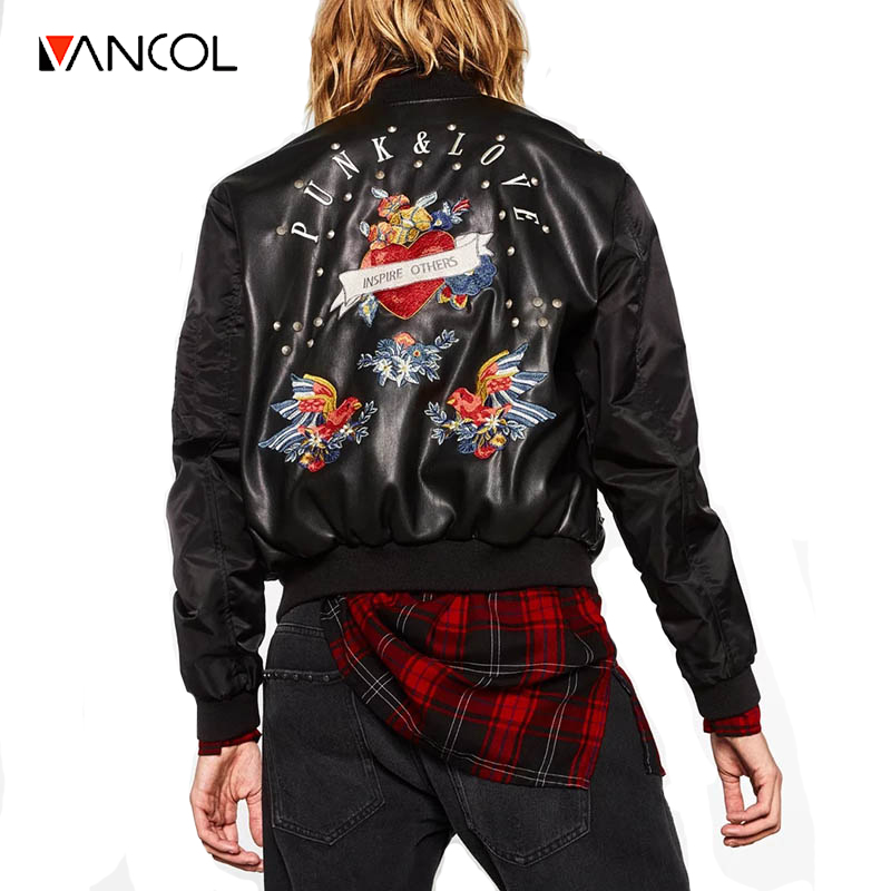 Popular Black Leather Bomber Jacket Ladies-Buy Cheap Black Leather