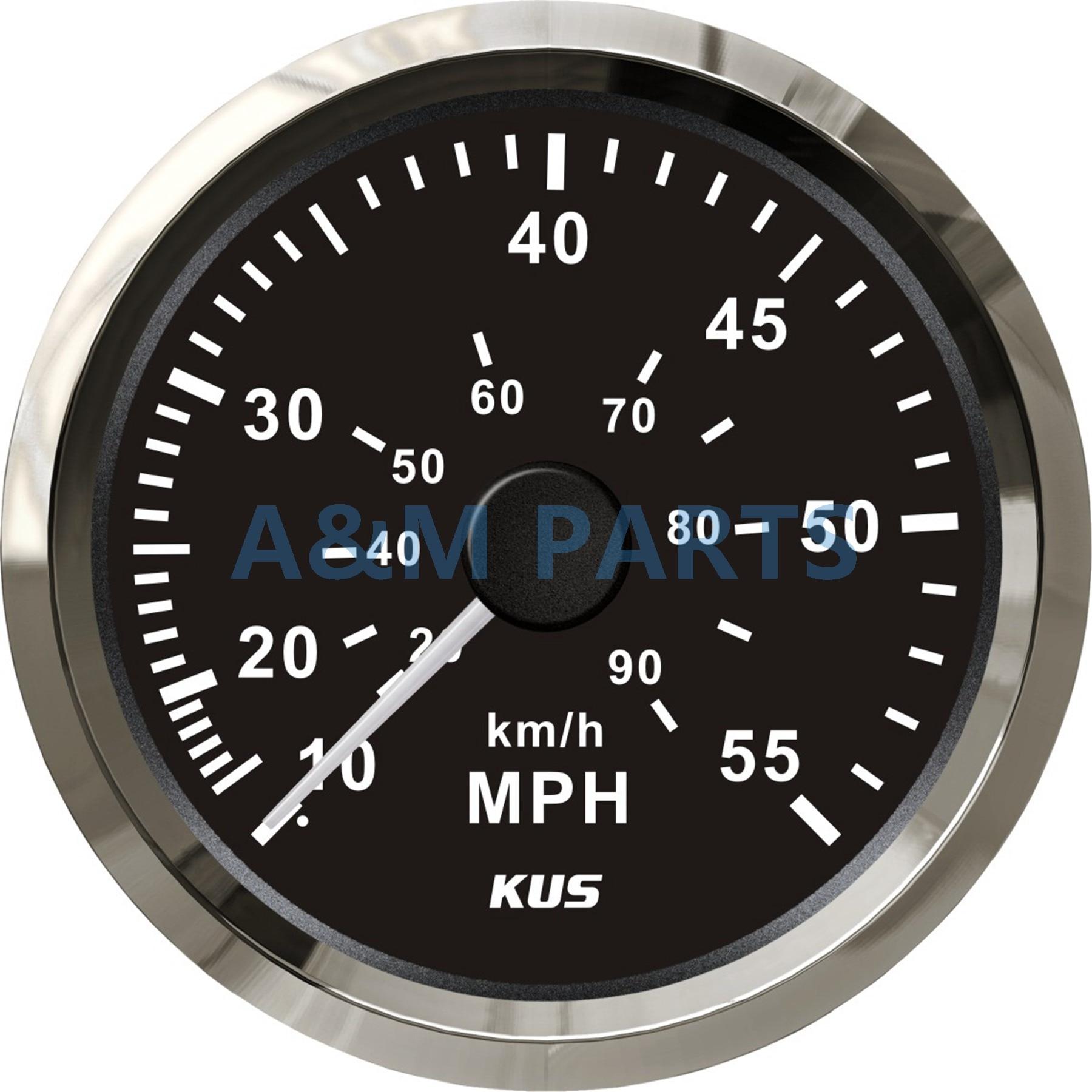 KUS Pressure Signal Speedometer Boat Marine Speedo Gauge Black Face 12/24V 0-55 MPH 85mm цена