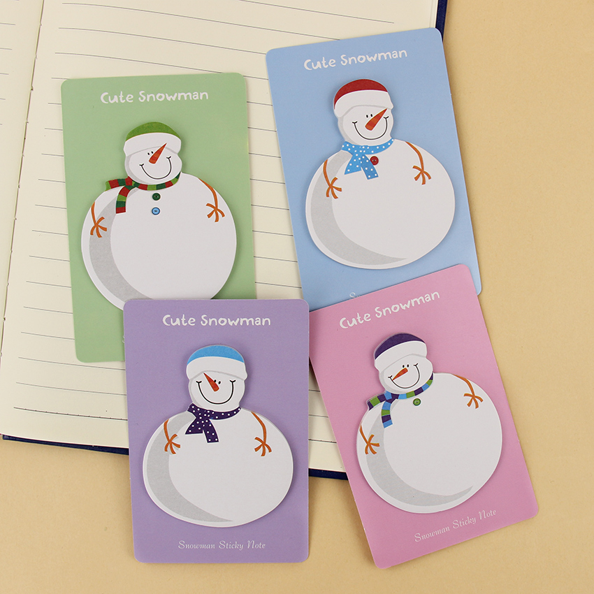 4PCS/Lot Cute Snowman Memo Pad Post It Sticky Notes Marker Stickers Office And School Stationery Supplies