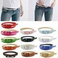 Delicado mujeres cinturones Ladis vintage retro de Las Mujeres Colores Lindos Del Caramelo de LA PU Correa Fina de Cuero Flaco Delgado Waistbandnor160824