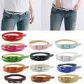 Delicate belts women belts Ladis retro vintage Women's Cute Candy Colors PU Leather Thin Belt Skinny Slender Waistbandnor160824