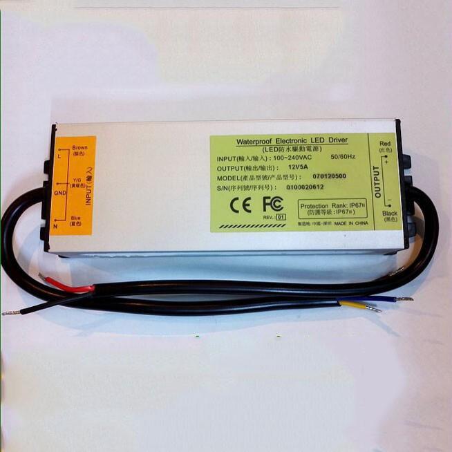 12 В 5А 60 вт водонепроницаемый из светодиодов драйвер питания открытый Лос Silva Transformer