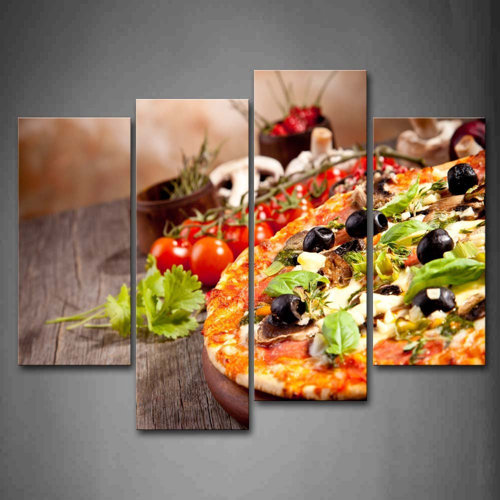 Us 15 0 50 offpizza with tomatoes and cup leaves wall art painting pictures print on canvas food the picture for home modern decoration in painting