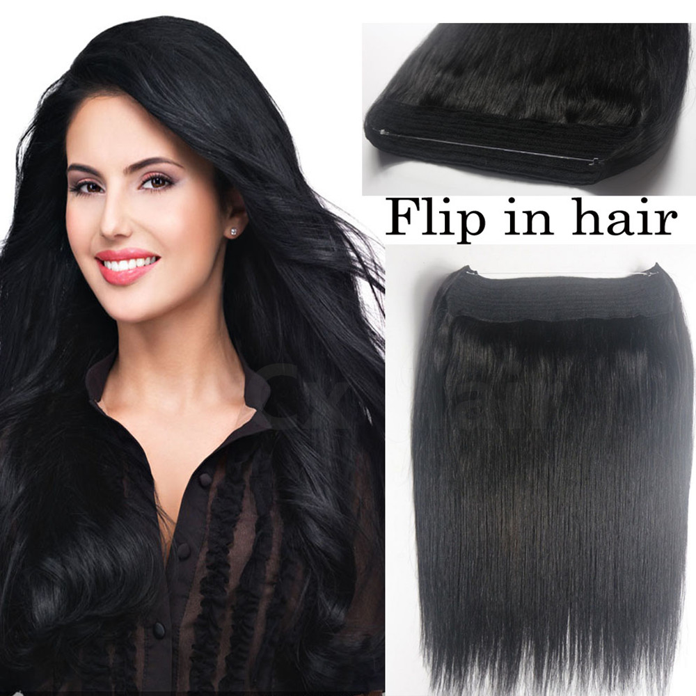 #1 100g Jet Black Thick Full Head 1 piece full head set Brazilian Virgin remy human hair extensions Flip Human Hair Extension