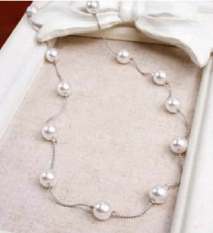 Korean fashion jewelry wild multi-pearl long necklace small fresh bohemian sweater chain female elegant necklace