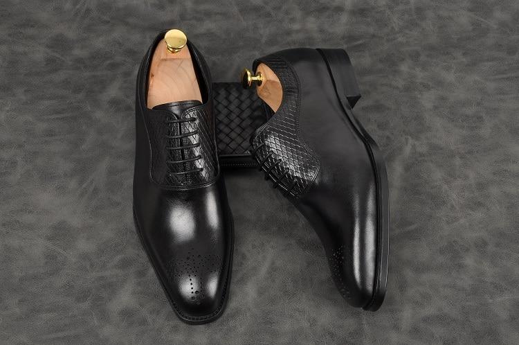 Männer mode handmade oxfords schwarz grown spitz spitze up low ferse formale schuhe Aus Echtem leder party büro schuhe - 2