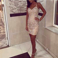Robe De Soiree Short Gold Crystal Evening Party Dress Real Photos Nude Color Tulle Party Occasion