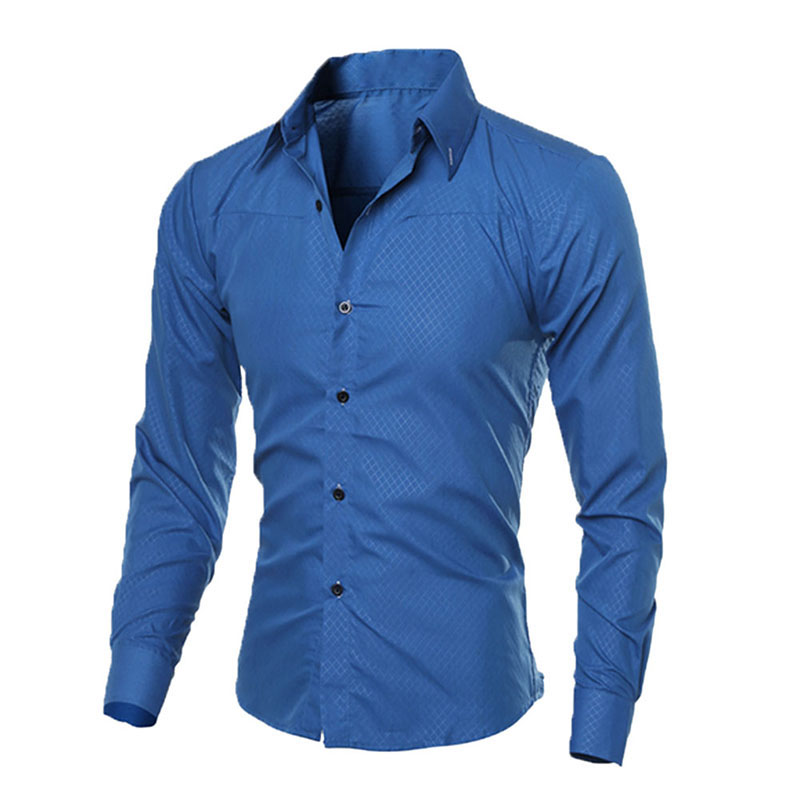 Fashion Man Shirt Fitness Brand New Mens Business Shirts Slim Fit Shirt Casual Long Slee ...