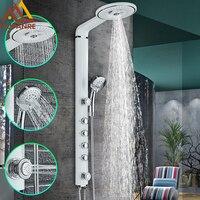 Quyanre Black White Bath Shower Faucets Set Bathroom Shower Tap Wall Mount Faucet Mixer Waterfall ABS Panel Massage jets Shower