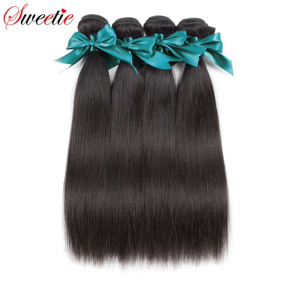 Sweetie Hair Brazilian Straight Hair 4 Bundles lot Deal 100 Human Hair Weave 400G Natural Black