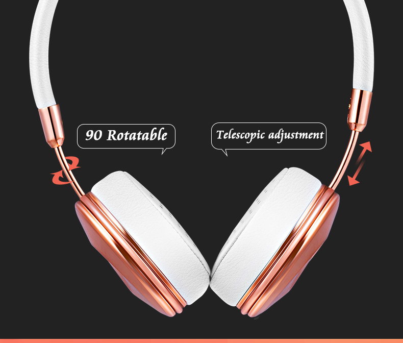 Liboer Headphones Wired On-ear Stereo Headphones for Mobile Phone Best Foldable Headset High Quality Rose Gold Headphone _05