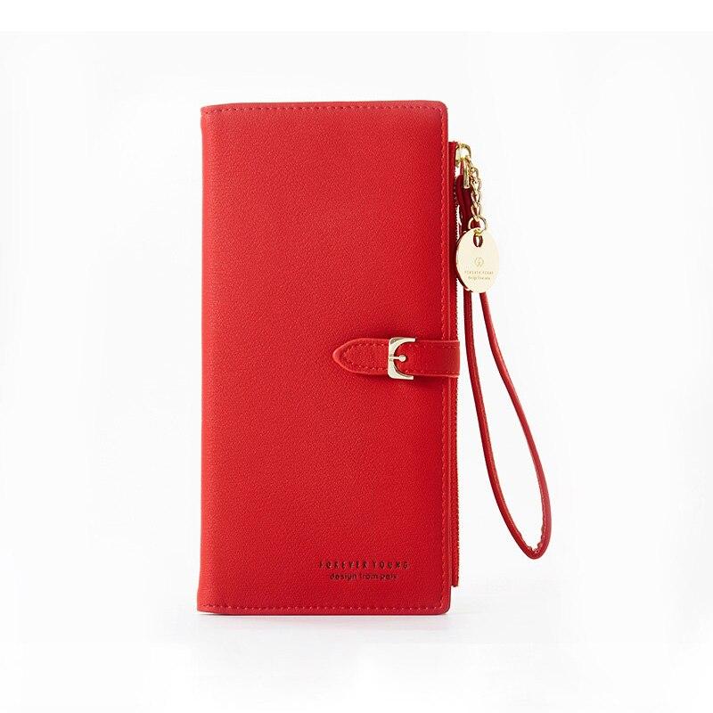 Браслет женский длинный кошелек Много отделов женские кошельки клатч Дамский кошелек на молнии карман для телефона держатель для карт дамские Carteras - Цвет: Red