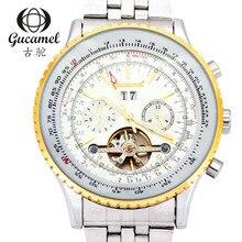 Мужская мода бизнес часы tourbillon автоматические механические часы, светящийся циферблат диаметр 49 мм полоса между золото муки