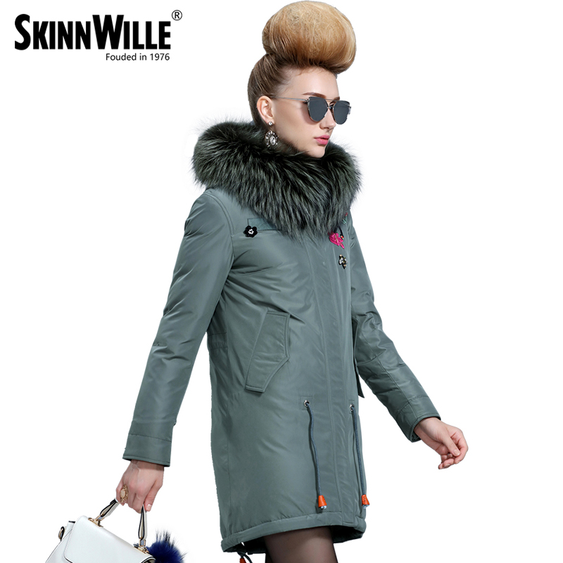 skinnwille The new winter 2017 white duck down thickening down jacket Long female coat embroidered with collars free shipping to women new winter down jacket large collars thickening ms cultivate one s morality