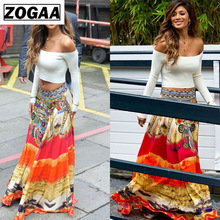 Bohemian Ankle-Length Skirts Women Maxi Skirt Thailand Ethnic style Fashion Print Straight High-street Sexy Clothes