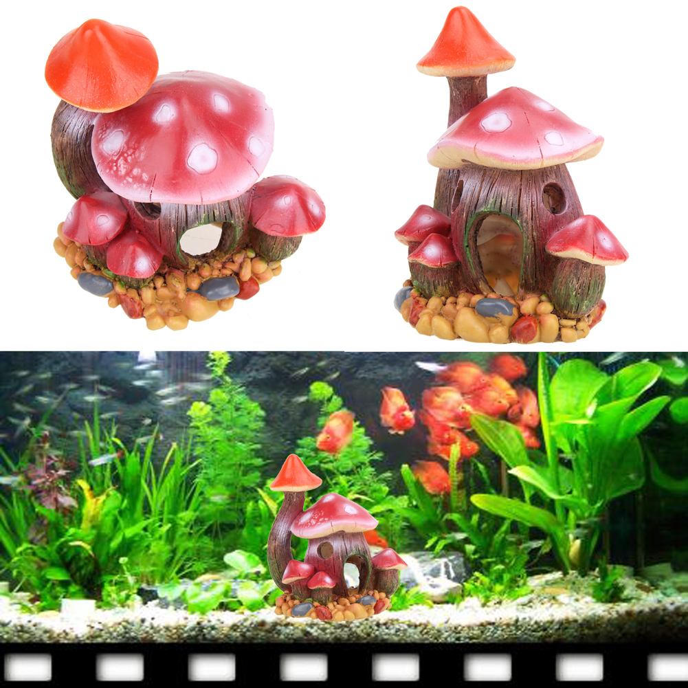 Freshwater fish aquarium accessories - Artificial Resin Aquarium Ornament Fish Tank Accessories Mushroom House Decoration China Mainland