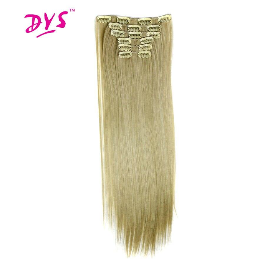 Deyngs 16 clips/pièce Longue Ligne Droite Naturel Faux Cheveux Synthétiques Extension De Cheveux 24 pouces Clip Dans Femmes Cheveux Pièces haute Température