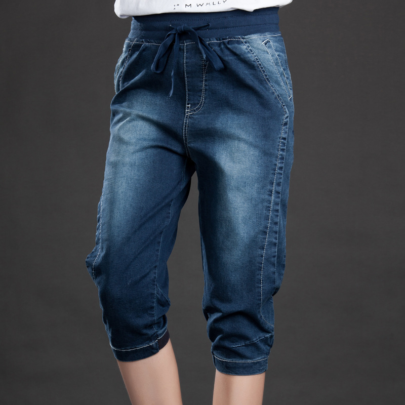 Women Summer Large size Elastic Waist Jeans 2017 New High Quality Slim type Denim Trousers Female
