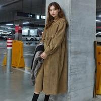 Women Autumn Corduroy Long Shirt Dress with Buttons Korean Long Sleeve Female Loose A line Sarafan Ruffle Vestido Robe Femme