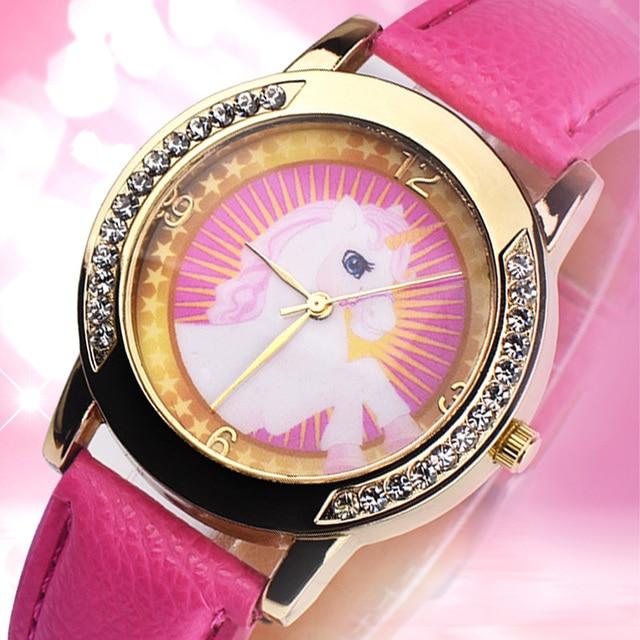 Lovely Pink Unicorn Children Wrist Watches Diamond Cartoon Leather Strap Kids Quartz Watch For Boy Clocks Relogio Masculino Saat