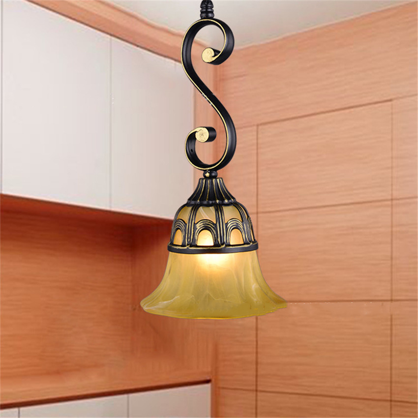 European-style Retro iron single-head pendant light with glass shade E27 base hanging lamp fixtures for stairwell Cafe chinese style retro e27 base iron ceiling plate ceramic pendant light for home decor wedding gift