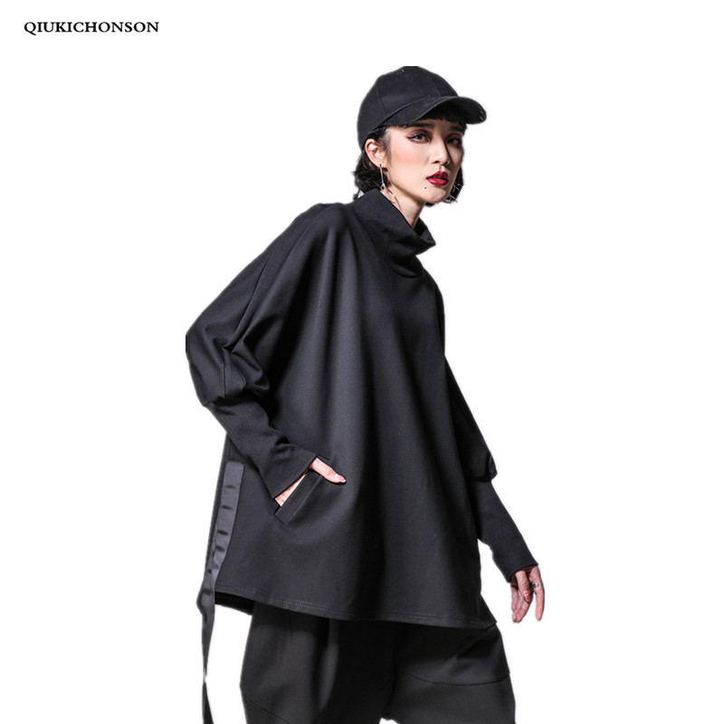 Hip Hop Plus Size Tops Women 2019 Spring Street Fashion Half Collar Long Batwing Sleeve Pockets Lacing Jag Loose Black Tshirts