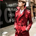 2017 autumn and winter trench coat, fashion double breasted coat men trench male medium-long slim fit trench coat belt 3XL