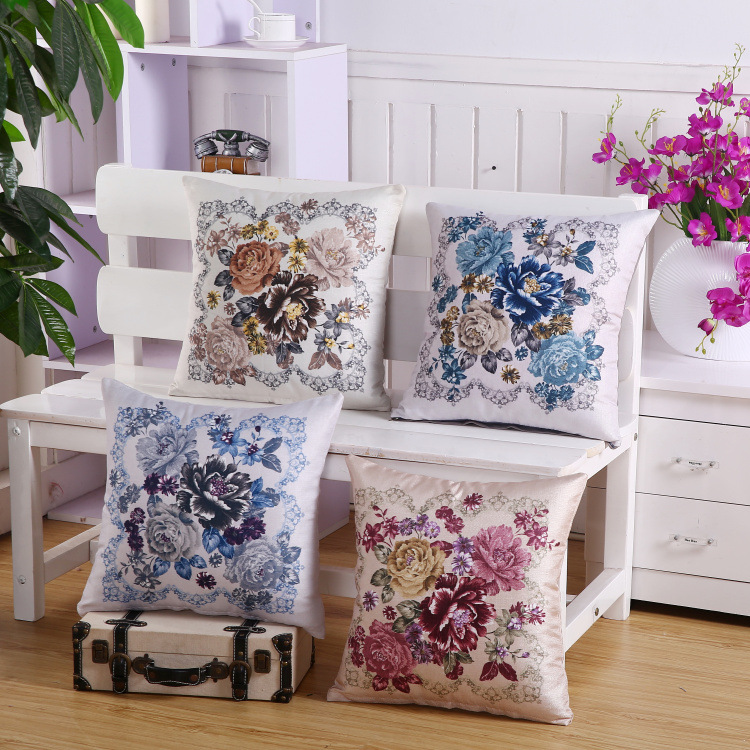 45*45 Slub Linen Double-sided Printing Flowers Pillow Sofa Cushion Furniture Decorative Pillow Pillows Decor Home Office Chair