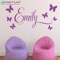 Free Shipping Personalised Princess 7Butterflies Name Baby Girl Wall Decal Nursery Vinyl Sticker Decor Children Wall