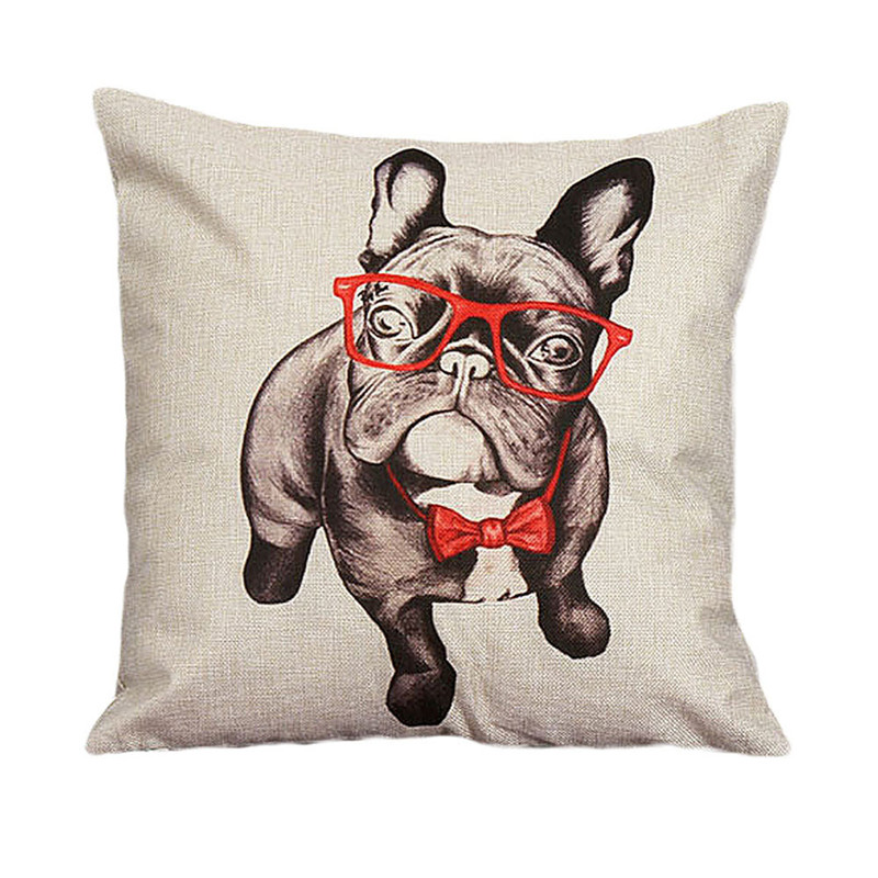 2017 Cute pillow case animal dog with glasses print cushion case cover pillow cover home decal for decorative pillow on sale