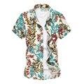 Paisley dos homens do Desenhador Camisas Plus Size M-6xl 2016 Novo Verão de Manga Curta Homens Camisa Havaiana Camisas De Algodão Mercerizado Xk269
