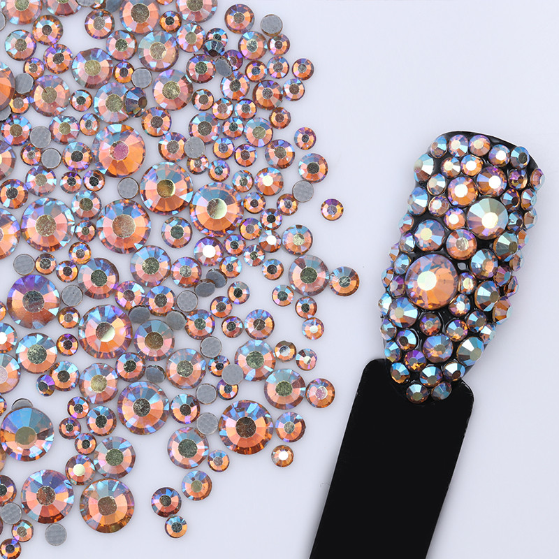 1 Bag Nail Rhinestone Multi-size Flat Bottom 2mm-5mm Champagne Blue FlatBack Studs Manicure 3D Nail Art Decorations
