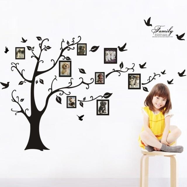 6404064da Grande Adesivo de Parede Árvore Moldura Família 3D Adesivos de Parede de  Vinil DIY Home Decor